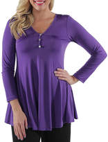 24/7 Comfort Apparel Three Button Henley Tunic Top Plus