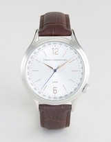 French Connection Watch Silver Dial With Leather Strap