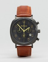 Barbour Beacon Chronograph Leather Watch In Tan