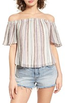 BP Women's Pleated Off The Shoulder Top