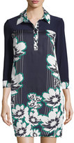 Laundry by Shelli Segal Floral 3/4-Sleeve Shirtdress, Pepper Green