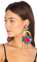 Ranjana Khan Flower Hoop Earring in Blue.