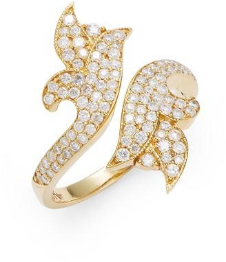 Sara Weinstock French Tulip 18K Yellow Gold Diamond Bypass Ring