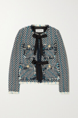 Lanvin - Fringed Wool And Cotton-blend Tweed Jacket - Blue
