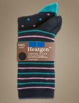 Marks and Spencer 2 Pair Pack HeatgenTM Pattern Ankle High Socks