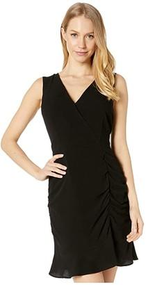 BB Dakota Ruched Behavior Rayon Crepe Cross Front Dress with Scrunched Skirt (Black) Women's Dress