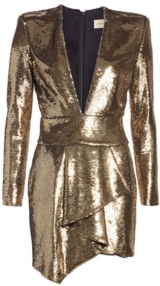 Alexandre Vauthier Micro Sequins Plunge Mini Dress