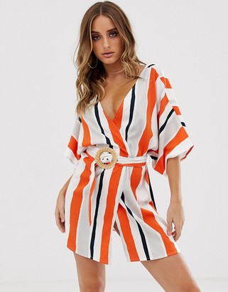 ASOS DESIGN stripe beach cover up with natural belt
