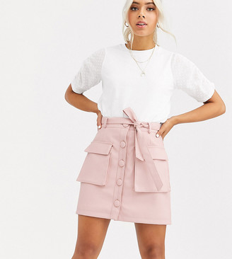 Asos DESIGN Petite button front leather look mini skirt with utility pockets
