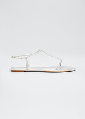 Rene Caovilla Shimmery T-Strap Flat Sandals