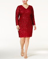 Adrianna Papell Plus Size Long-Sleeve Beaded Dress