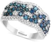 Effy EFFYandreg; Shades of Bleu Diamond Cluster Band (1-1/5 ct. t.w.) in 14k White Gold
