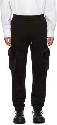 Feng Chen Wang Black Faux-Fur Patch Cargo Pants