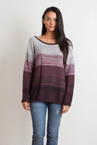 Goddis Leah Stripe Pullover In Merlot Fade