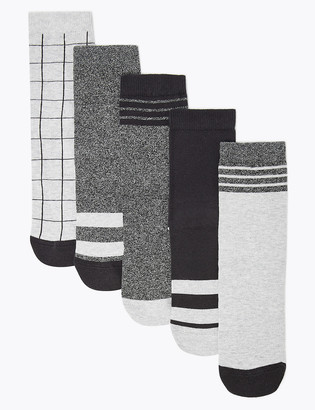 Marks and Spencer 5 Pack of Cotton Rich Monochrome Socks