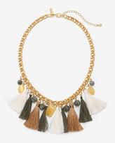 White House Black Market Goldtone Fabric Tassel Statement Necklace