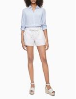Solid Linen Blend Button-Down Shirt