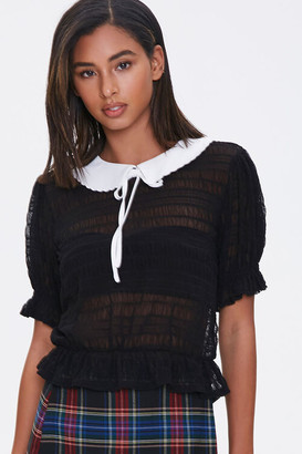Forever 21 Contrast-Collar Mesh Top