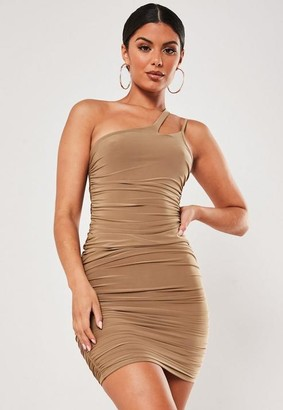 Missguided Slinky Ruched Asymmetric Strap Mini Dress