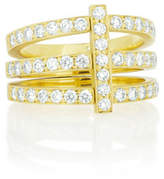 Carelle Moderne 18k Three-Row Diamond Ring, Size 6.5