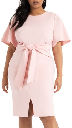 ELOQUII Tie Waist Scuba Crepe Dress