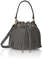 Milly Essex Fringe Small Drawstring Bucket Cross Body Bag
