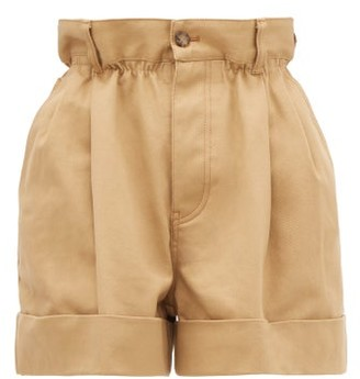 Miu Miu Paperbag-waist Cotton-drill Shorts - Womens - Beige