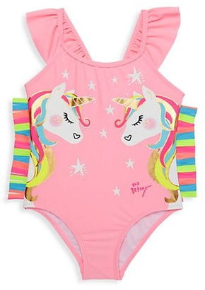 Betsey Johnson Little Girl's Unicorn Graphic One-Piece Swimsuit