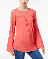 Style&Co. Style & Co Petite Embroidered Illusion Top, Only at Macy's