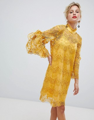 Y.A.S high neck lace mini dress in yellow