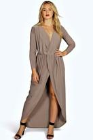 boohoo Plus Zoe Slinky Wrap Front Maxi Dress mocha
