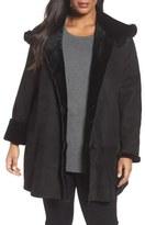Blue Duck Hooded Genuine Shearling Swing Coat with Genuine Fox Fur Trim (Plus Size)