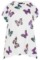 Yours Clothing YoursClothing Womens Butterfly Print Top With Diamante Stud Detail Plus Size