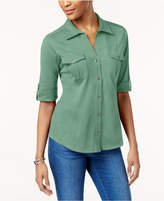 Style&Co. Style & Co Petite Jersey Utility Shirt, Created for Macy's