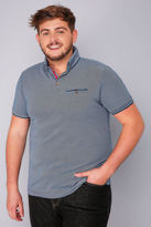 Yours Clothing D555 Blue Edric Polo With Tipped Collar - TALL