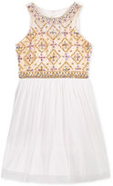 Crystal Doll Embellished-Bodice Dress, Big Girls (7-16)