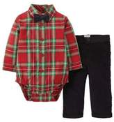 Carter's Infant Boys Red Plaid Holiday Outfit With Black Bow Tie 9m