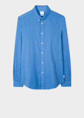 Paul Smith Men's Tailored-Fit Powder Blue Garment-Dyed Cotton Shirt
