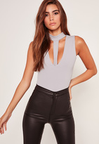 Missguided Harness Choker Neck Bodysuit Grey