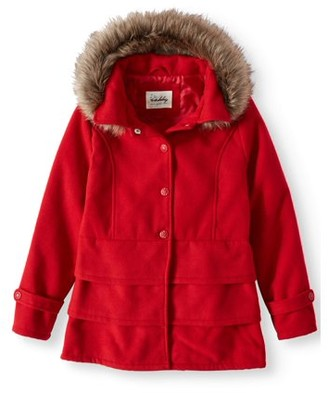 Online Ruffled Hem Wool Blend Coat with Fur Trim Detachable Hood (Little Girls & Big Girls)