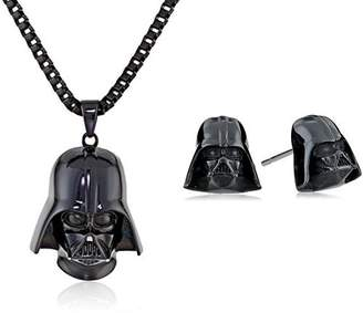 Star Wars Jewelry Unisex 3D Darth Vader Black Ion-Plated Stainless Steel Pendant Necklace and Stud Earrings Set