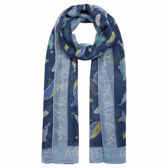 """Codello Women's Take Care Scarf""""Whale Love"""" Made of Recycled Polyester Navy Blue 100 x 180 cm"""