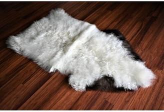 "Carper Animal Print Handmade 1'10"" x 3' Sheepskin White/Brown Indoor / Outdoor Area Rug Millwood Pines"