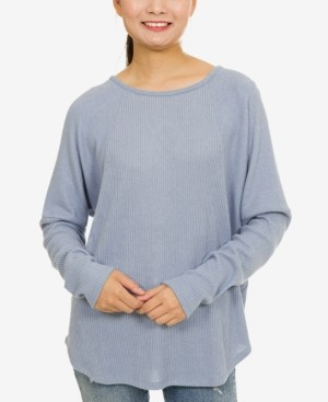 Hippie Rose Juniors' Cozy Lattice-Back Dolman-Sleeve Top