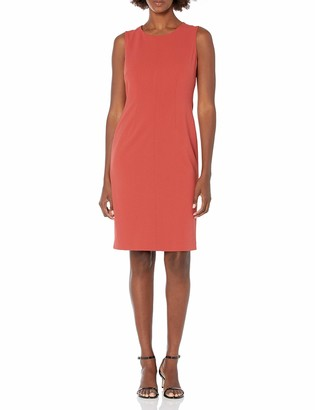 Nine West Women's Stretch Crepe Sleeveless Fitted Dress with Topstitching