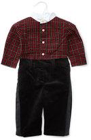 Ralph Lauren Plaid Tuxedo Shirt w/ Velour Pants, Red/Black, Size 9-24 Months