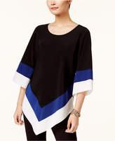 Alfani Petite Colorblocked V-Hem Top, Created for Macy's
