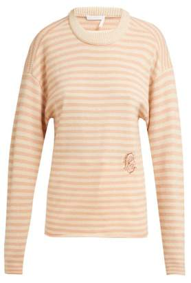 Chloé Intarsia-striped Cashmere Sweater - Womens - Pink Stripe