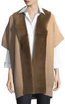 Lafayette 148 New York Shearling Fur-Trimmed Oversized Cardigan