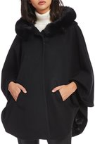 Katherine Kelly Cashmere Blend Fox Fur Trim Hooded Cape